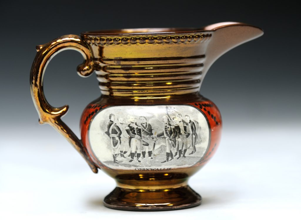 Pitcher with scenes of Cornwallis surrendering at Yorktown and of Lafayette, ca. 1824