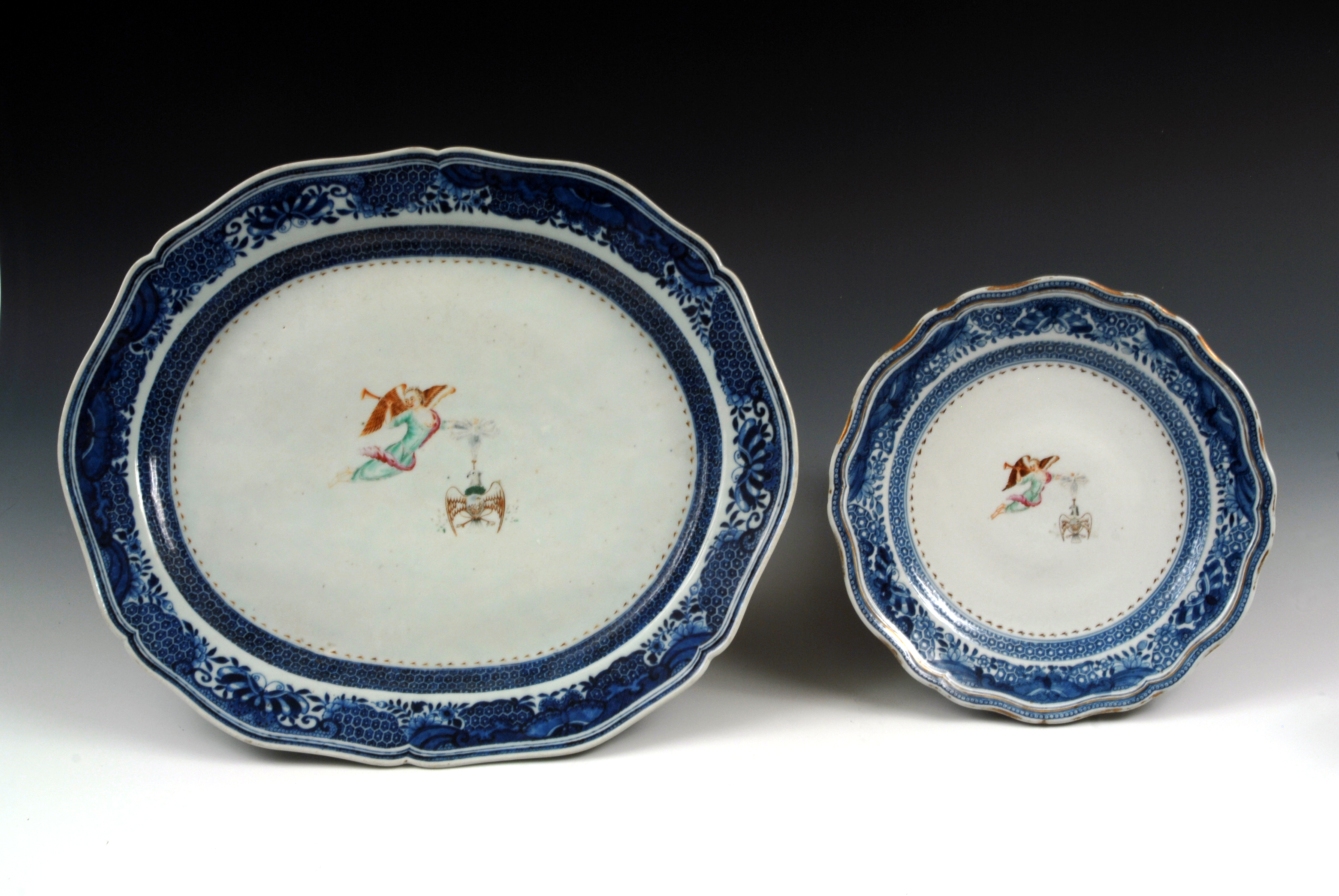 Society of the Cincinnati platter and dinner plate owned by George Washington, ca. 1784-1785