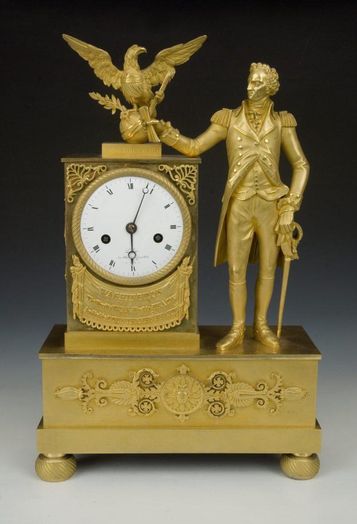 George Washington mantel clock by DuBuc, ca. 1800-1810