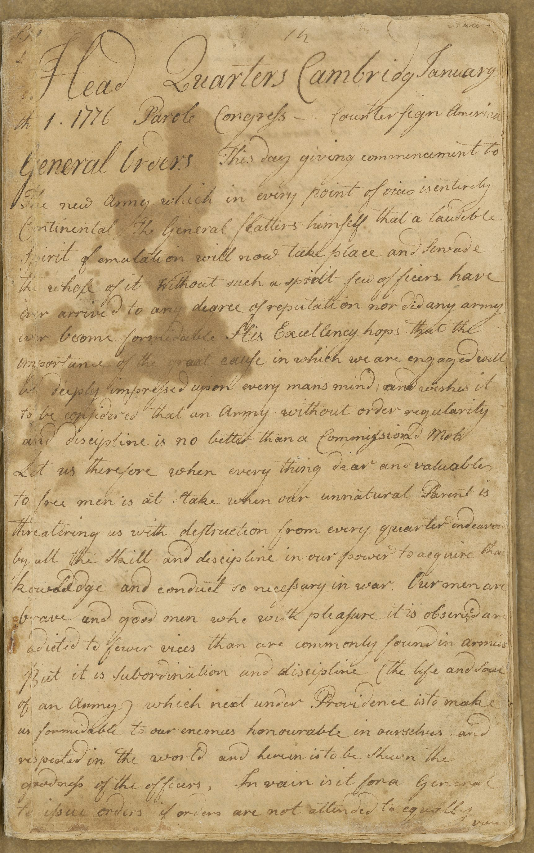 Orderly Book of the Continental Army Artillery Regiment kept by Gershom Foster, January 1 – February 24, 1776