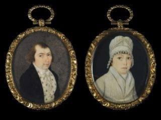 Mr. and Mrs. Frederick Weissenfels portrait miniature, ca. 1770-1775