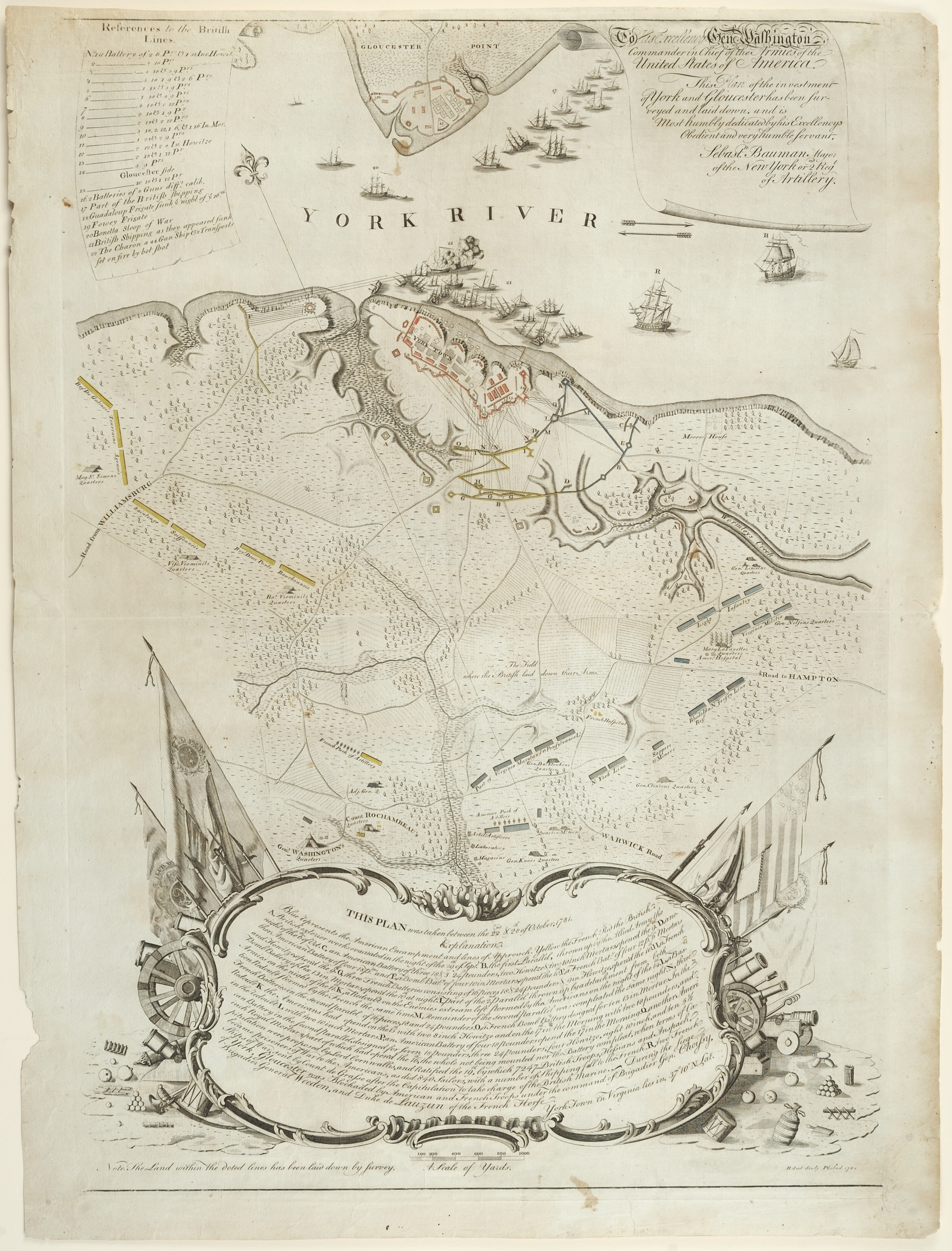 Plan of the Investment of York and Gloucester, Sebastian Bauman, cartographer, Philadelphia: Engraved and Printed by Robert Scot, 1782