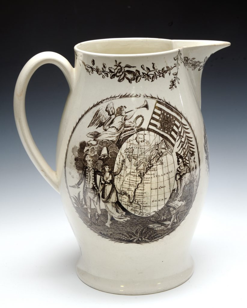 Jug with a map of the United States of America, ca. 1800