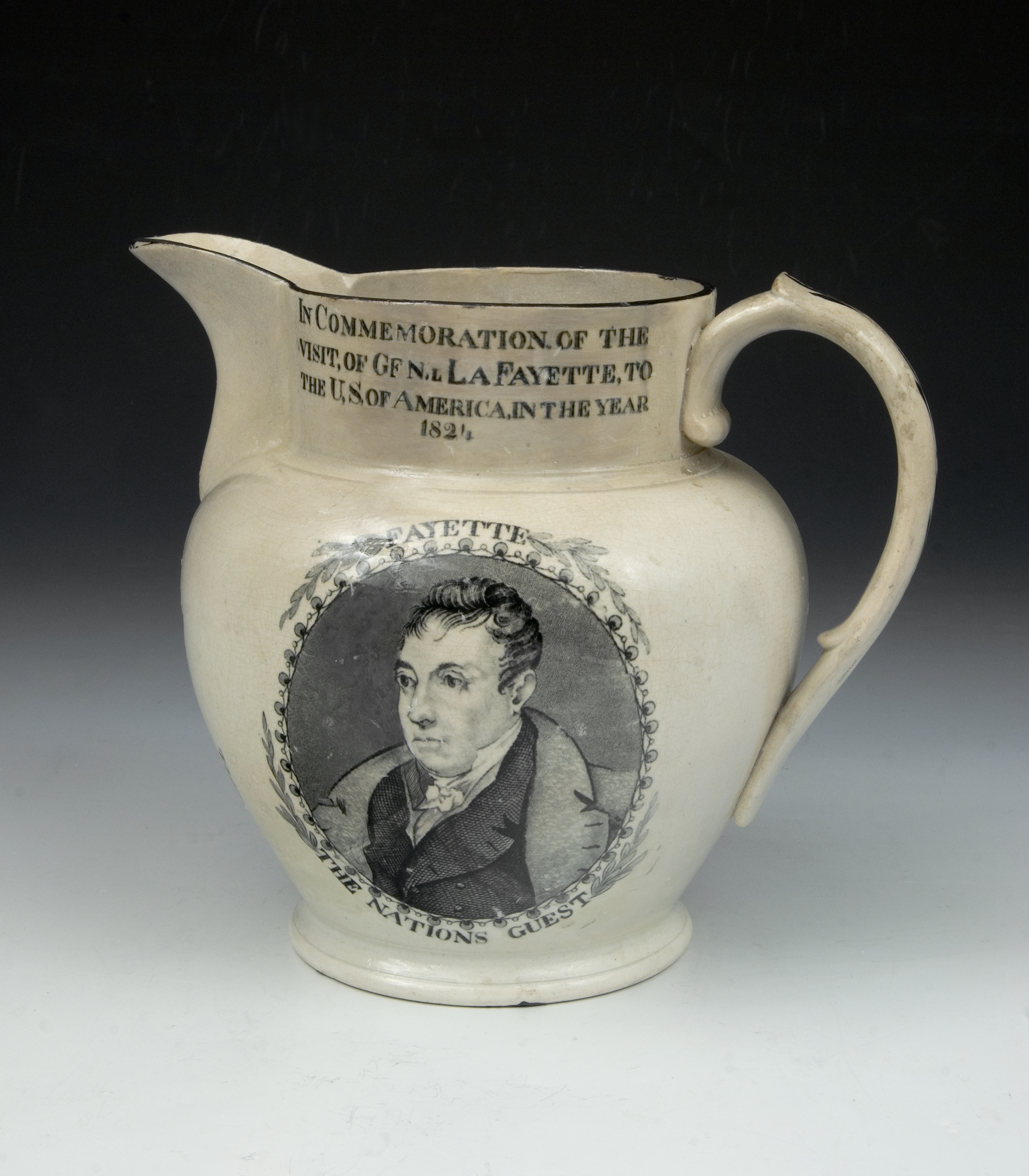 Jug commemorating the visit of the marquis de Lafayette to the U.S., ca. 1824
