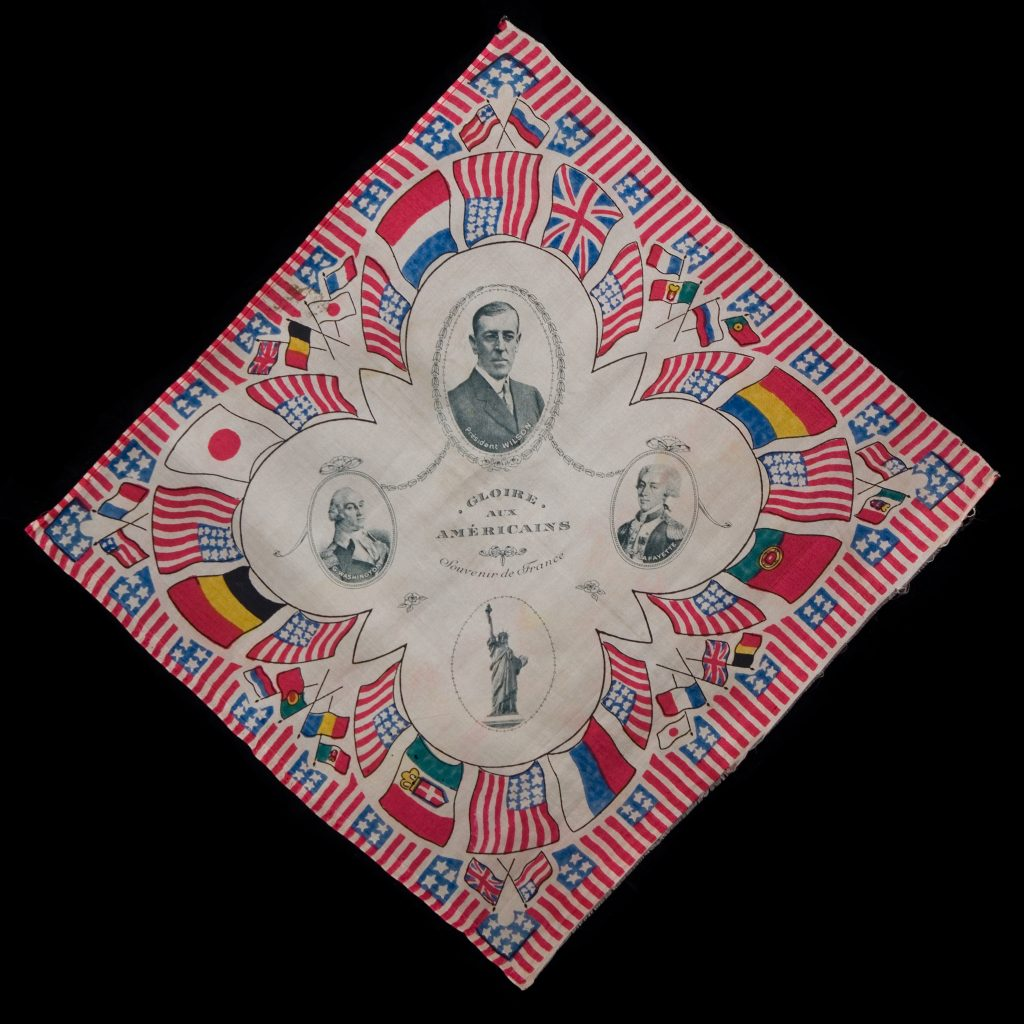 World War I commemorative handkerchief, ca. 1918