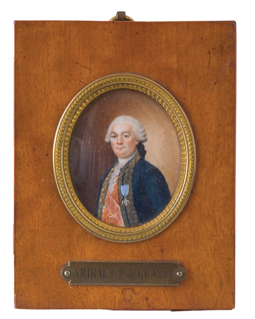 Admiral de Grasse portrait miniature by Geslain, ca. 1796-1802