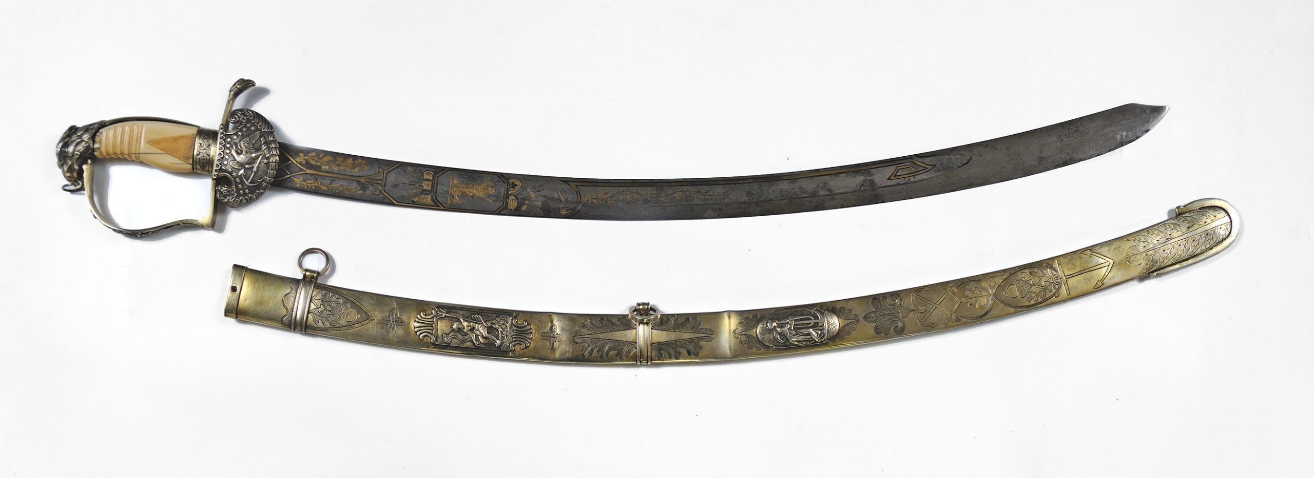War of 1812 presentation sword and gilt metal scabbard