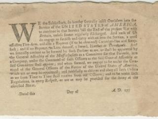 Massachusetts Continental Line enlistment document, ca. 1775-1777