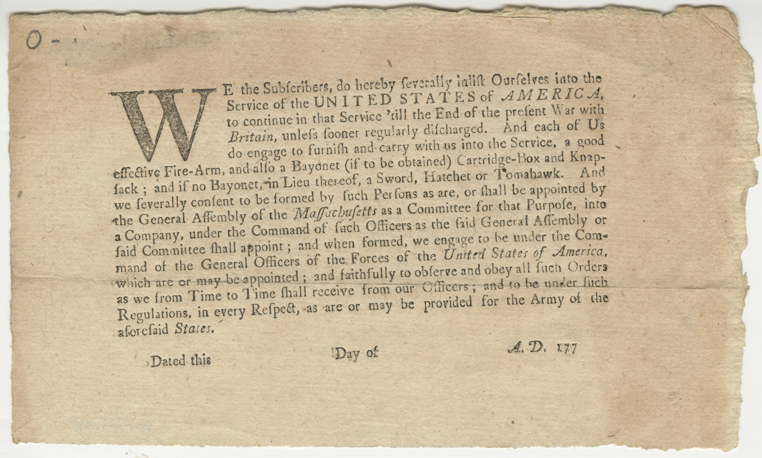 Massachusetts Continental Line enlistment document, ca. 1775-1777