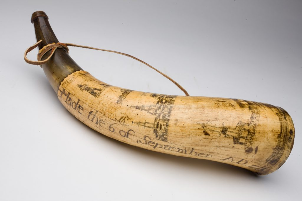 Thomas Kempton powder horn, 1775