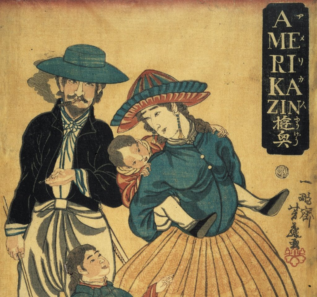 This Japanese woodblock image of Americans, created just a few years after Emerson wrote about the shot heard round the world, reflects Japanese interest in America and its strange ideals.