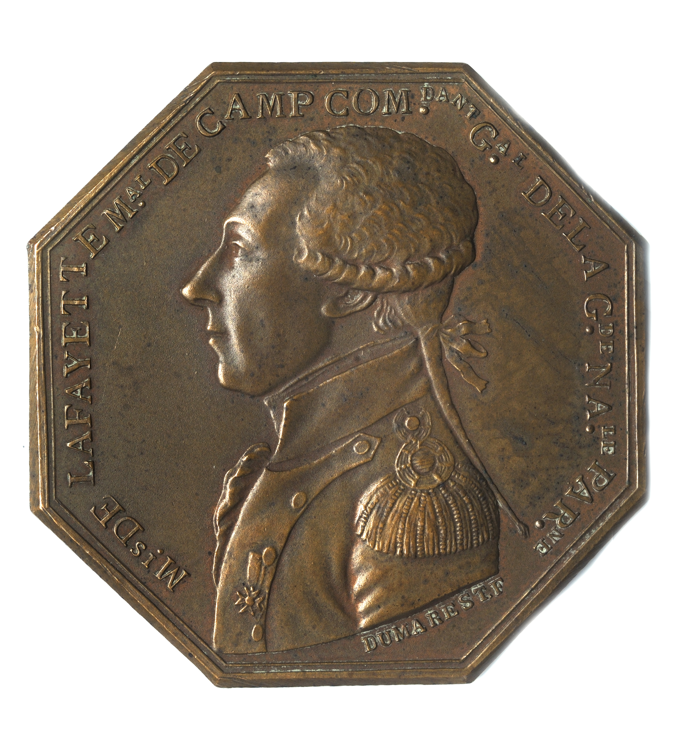 Marquis de Lafayette commemorative medal by Dumarest, 1789
