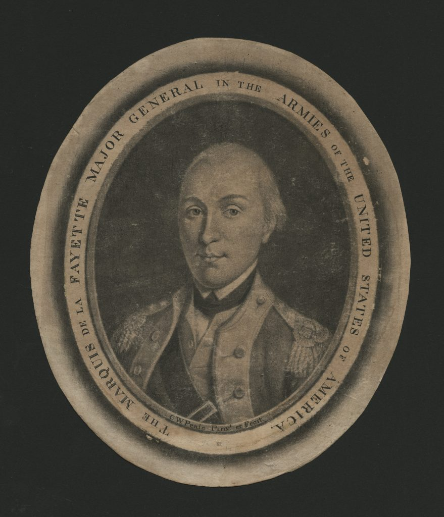 Mezzotint engraving of the marquis de Lafayette by Peale, 1787