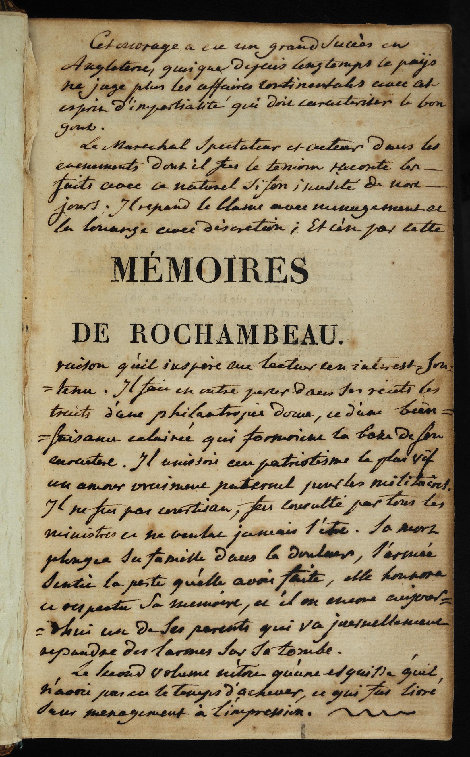 Mémoires Militaires, Historiques et Politiques de Rochambeau, 1809