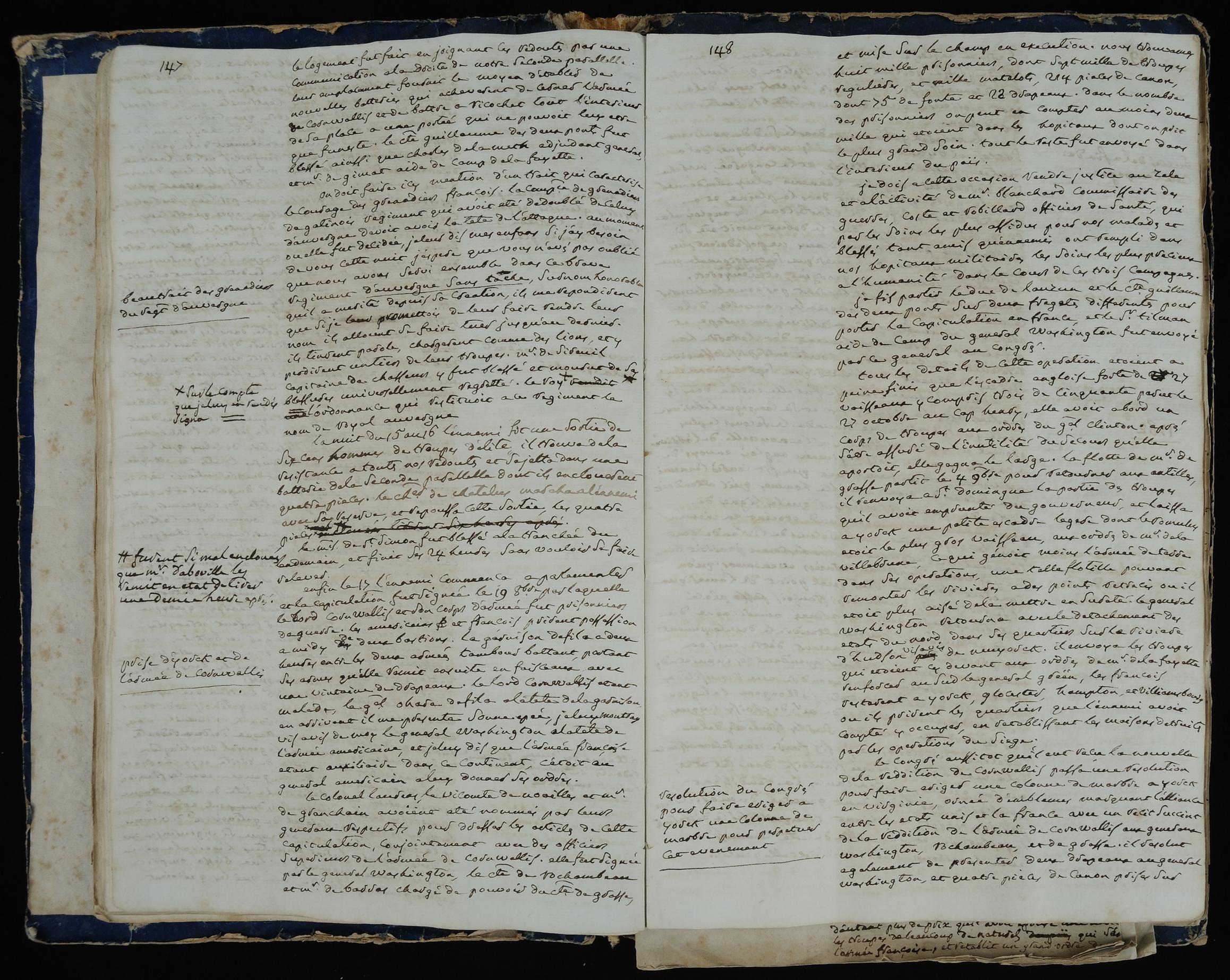 """""""Manuscript des memoires politiques et militaires du Marechal de Rochambeau"""""""