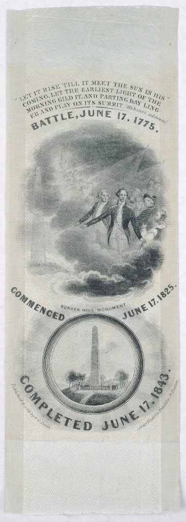 Bunker Hill monument ribbon, 1843