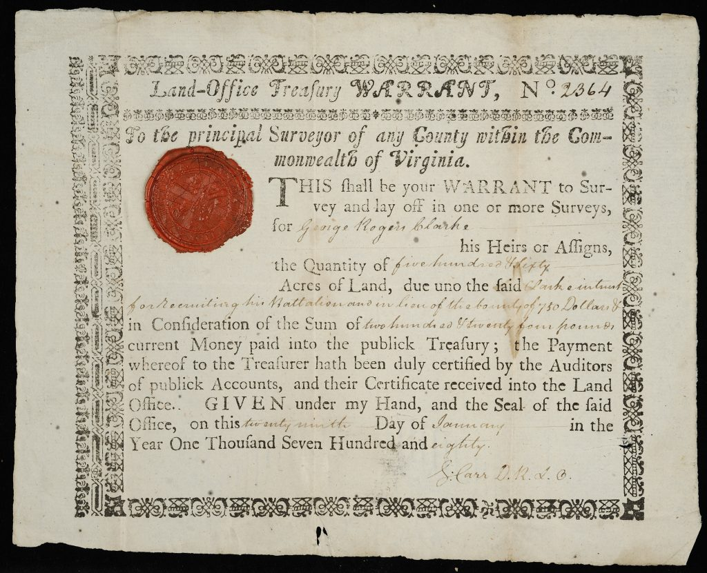 George Rogers Clark land warrant, 1780