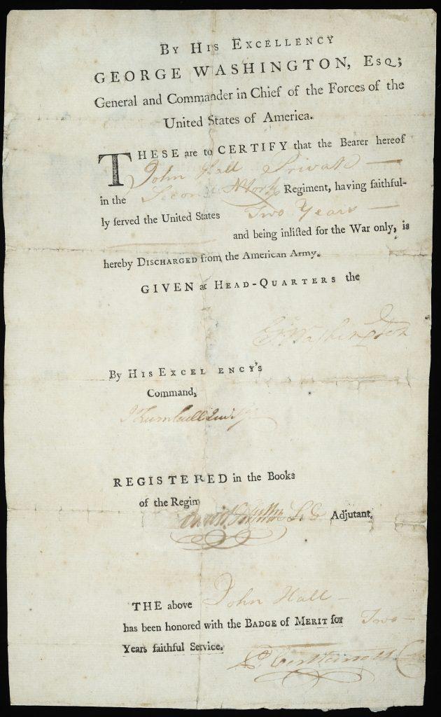 John Hall discharge, 1783