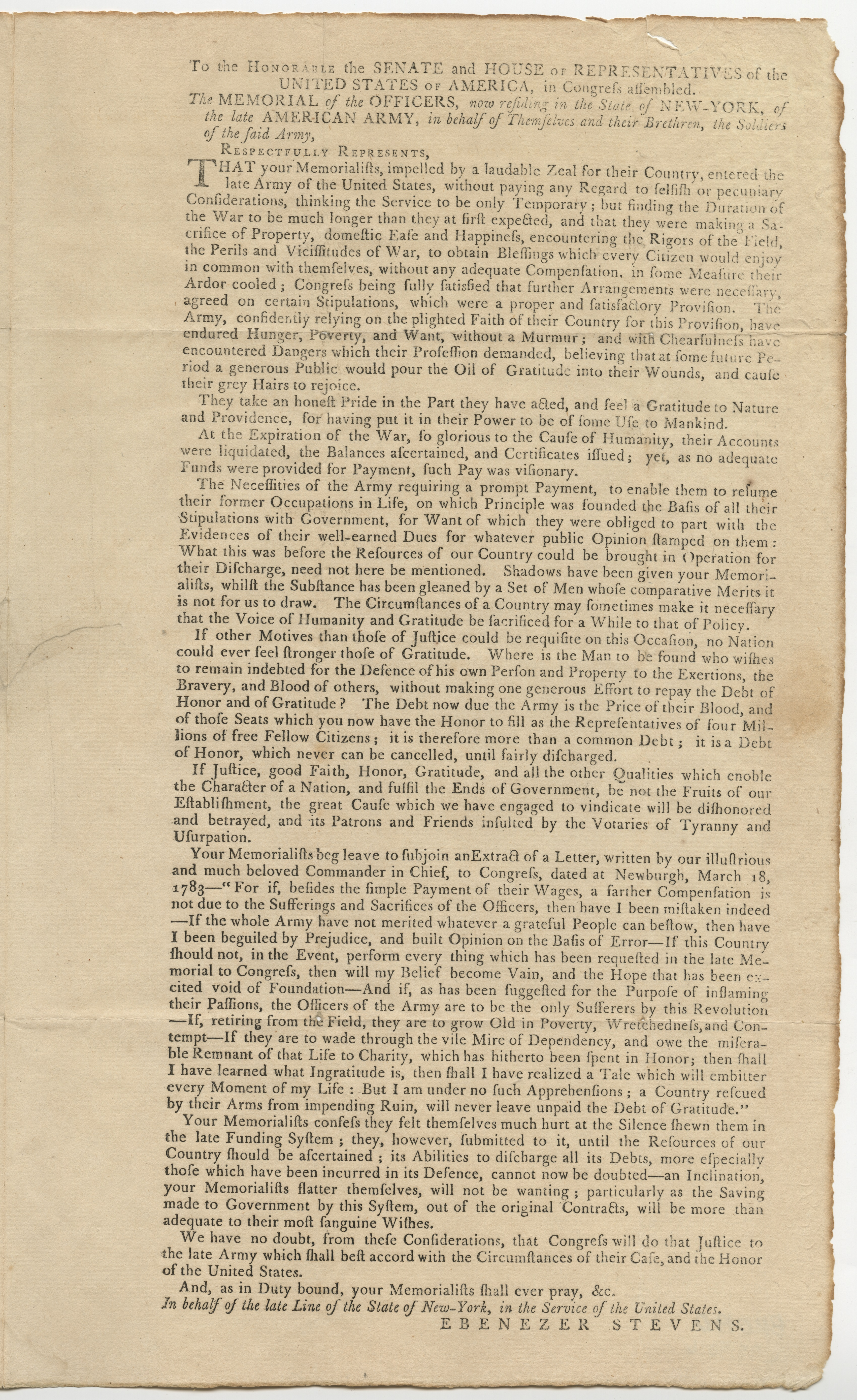 Memorial of New York officers on half pay, 1792
