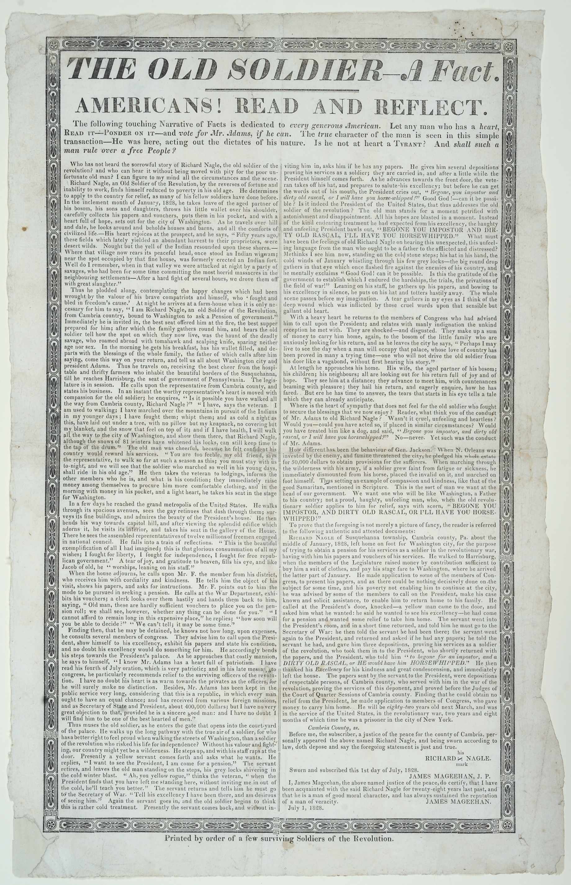 The Old Soldier broadside, 1828