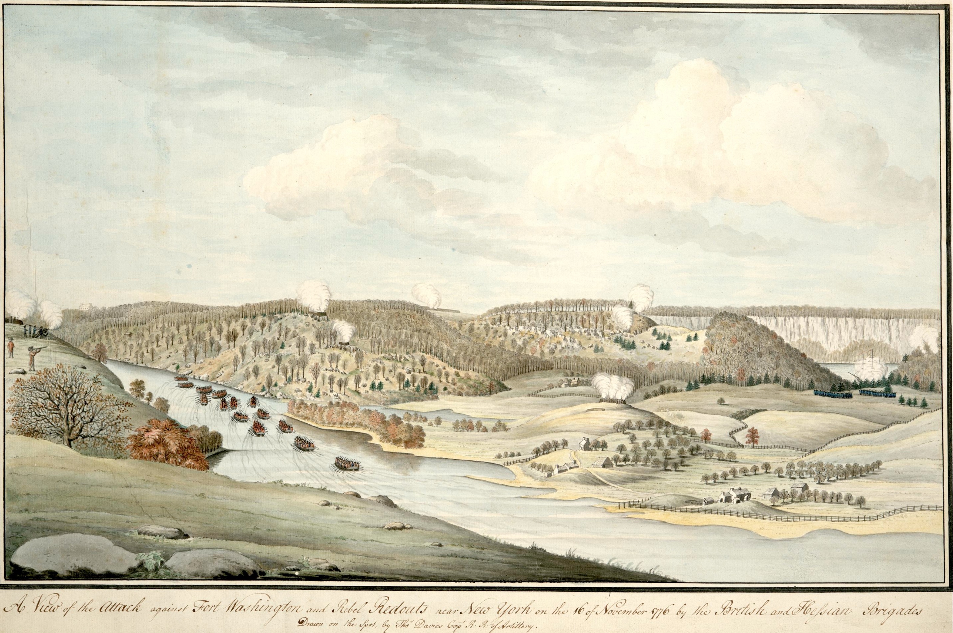 This watercolor of the attack on Fort Washington includes the site where Margaret Corbin was wounded while serving with the American artillery.
