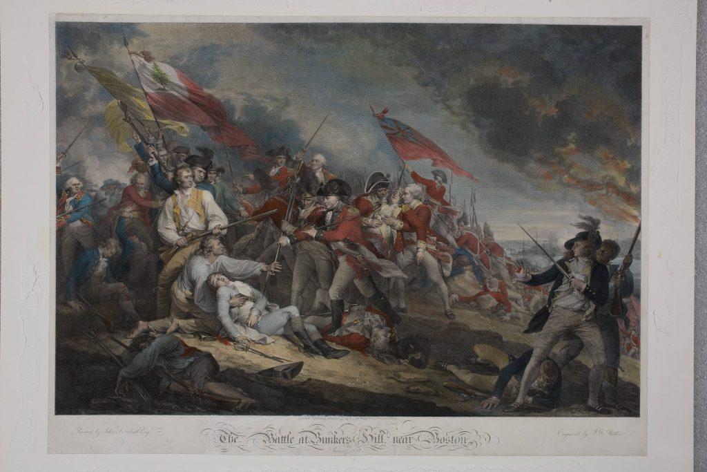 6 The Battle at Bunker's Hill near Boston, June 17th 1775, Johann Gotthard Muller, engraver, 1788