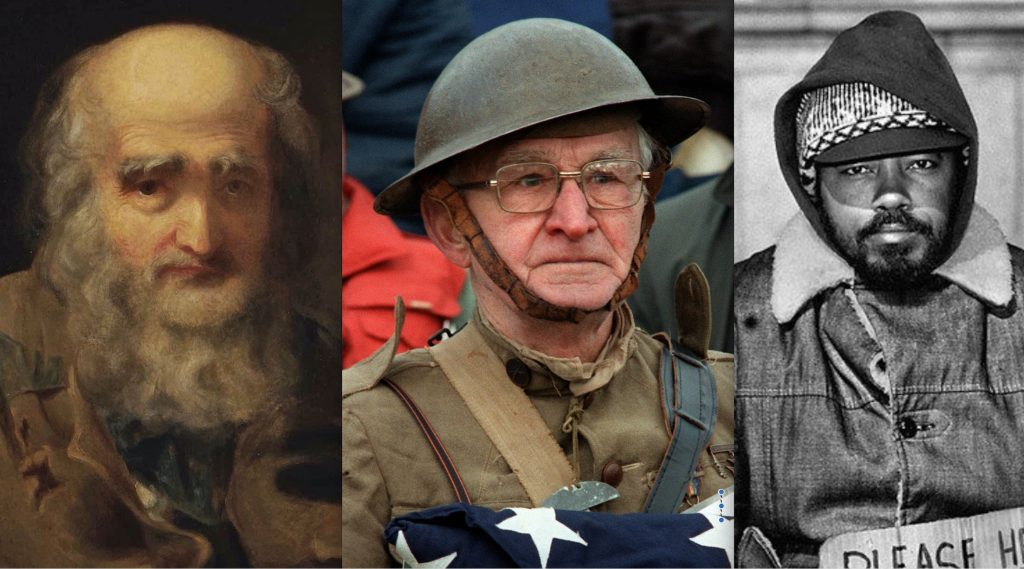 This image portrays veterans of the Revolutionary War, World War I, and the Vietnam War.