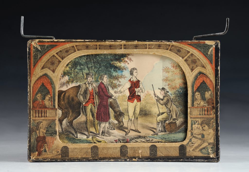 Historiscope toy by Milton Bradley with scene of three men and a horse in a landscape