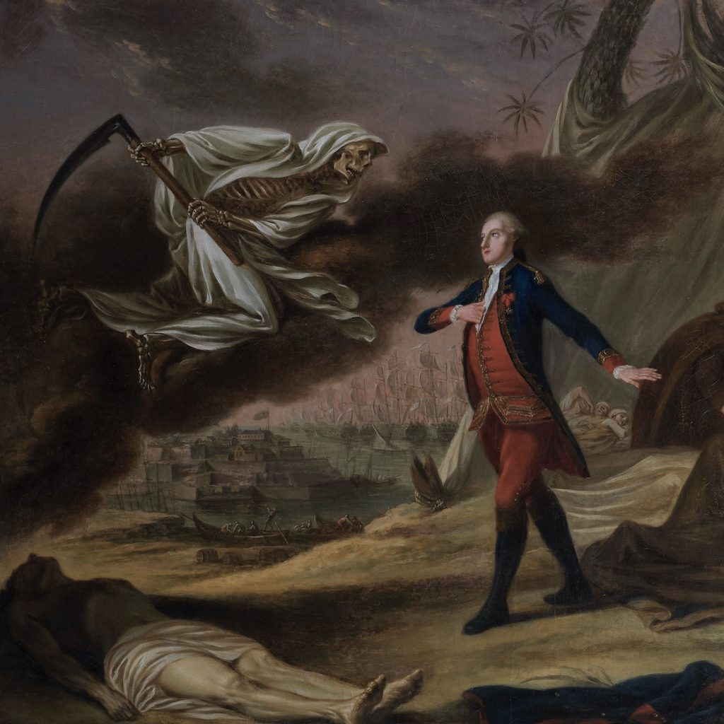 This painting death coming for Revolutionary War sailors is a reminder that epidemic disease killed more soldiers and sailors in the Revolution than bullets.