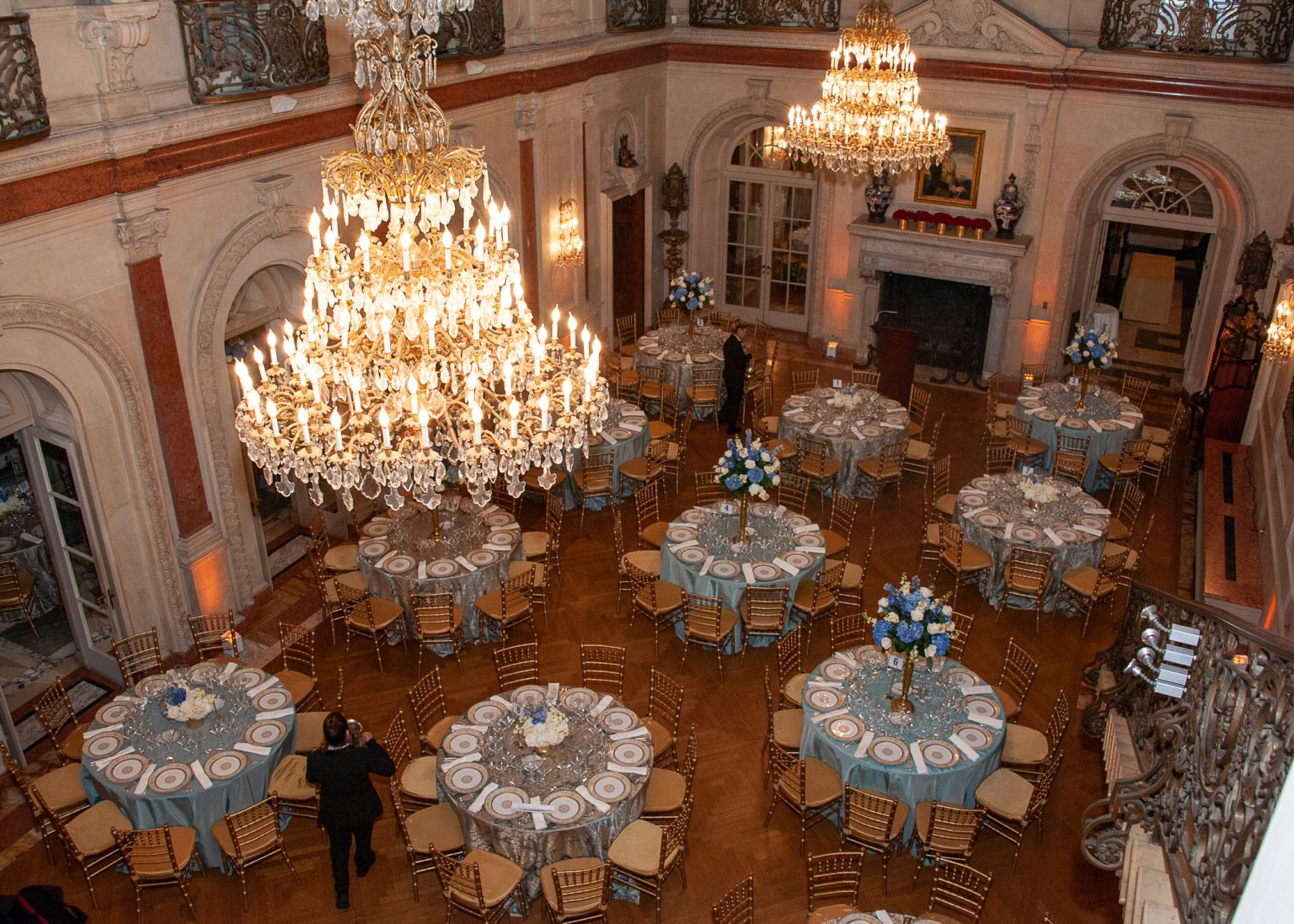 Blue and gold formalize the Ballroom. Photo by Beverly Rezneck.