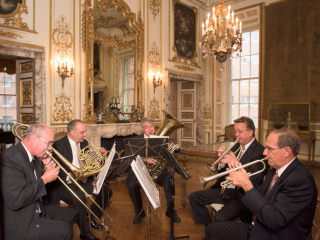 <h2>Wedding march brass in the French Drawing Room</h2>Photo by Kevin Allen.