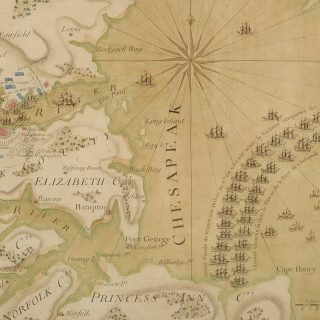 This map depicting the Battle of the Chesapeake in the Revolutionary War is a highlight among recent acquisitions for the Institute's library collections.