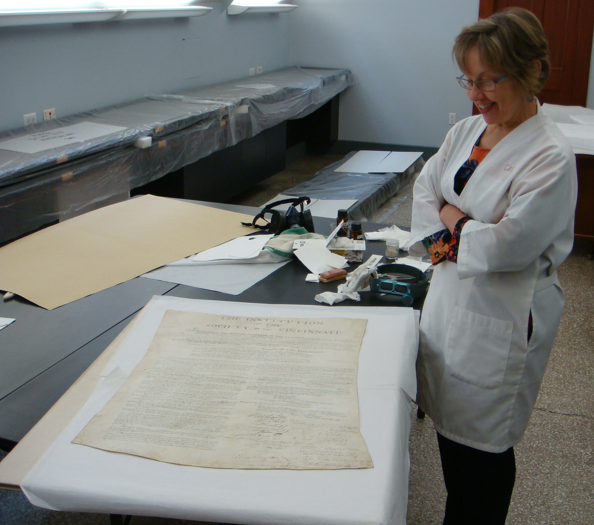 Society Institution, conservator Christine Smith in lab, Oct 18 2007