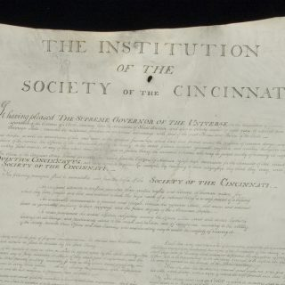 Top center portion of the parchment founding document of the Society of the Cincinnati