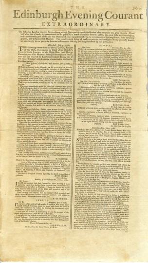 The Edinburgh Evening Courant Extraordinary, 7 July 1780.