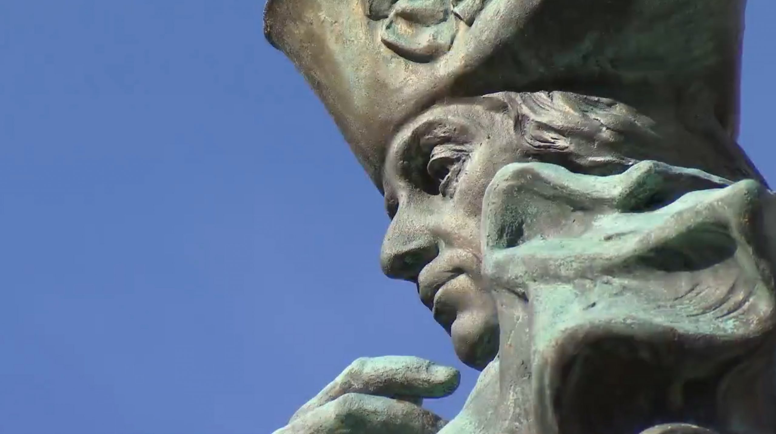 A closeup of the face of the Philip Schuyler statue in Albany, New York