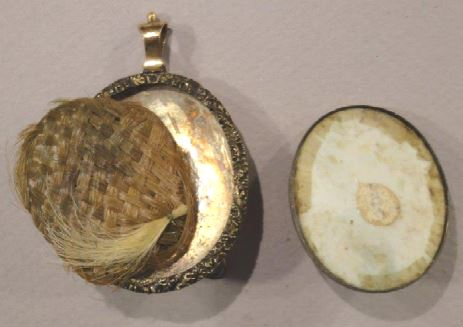 Contents of the back of the case of the portrait miniature of George Baylor, 1778