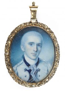 Oval watercolor portrait miniature of George Baylor wearing a military uniform, painted by Charles Willson Peale