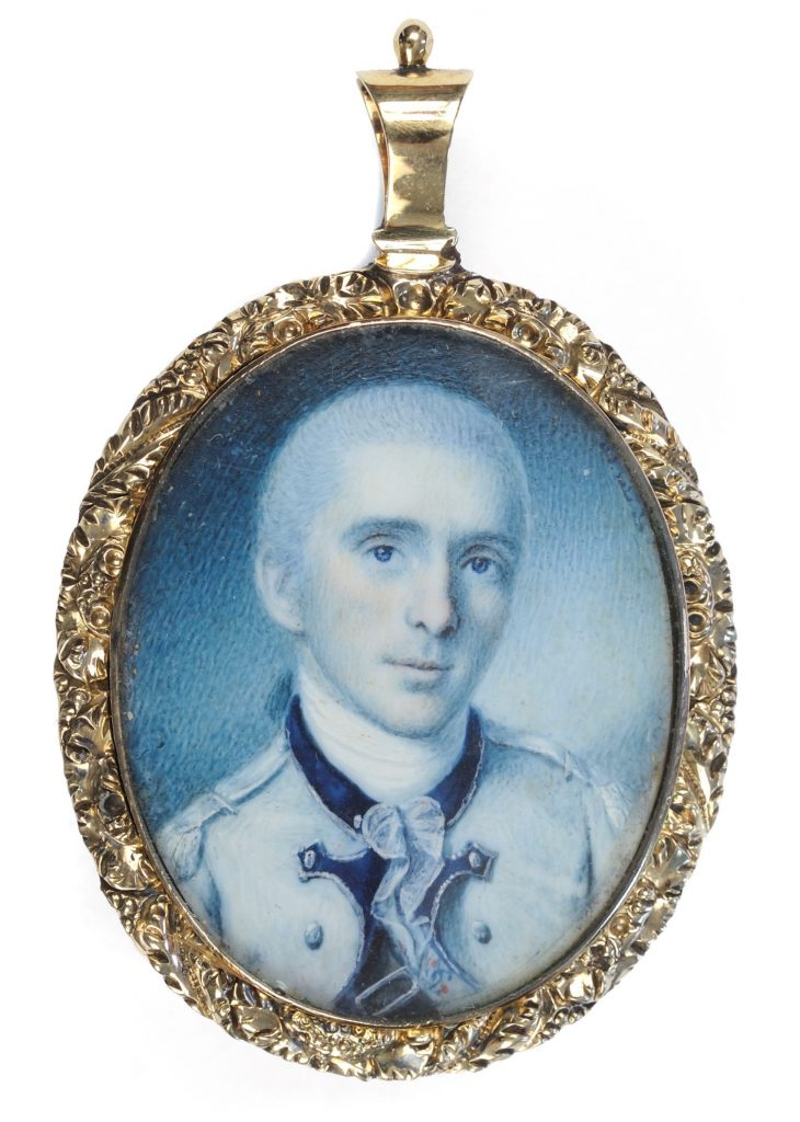 Oval portrait miniature of Revolutionary War officer George Baylor painted by Charles Willson Peale, 1778