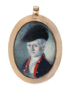 Oval watercolor portrait miniature of William Truman Stoddert wearing a military uniform, in a gold case