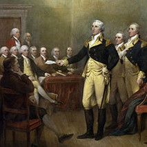 Washington's resignation, depicted in this painting, reflects the ideals addressed in this lesson plan on the Revolutionary Republic.