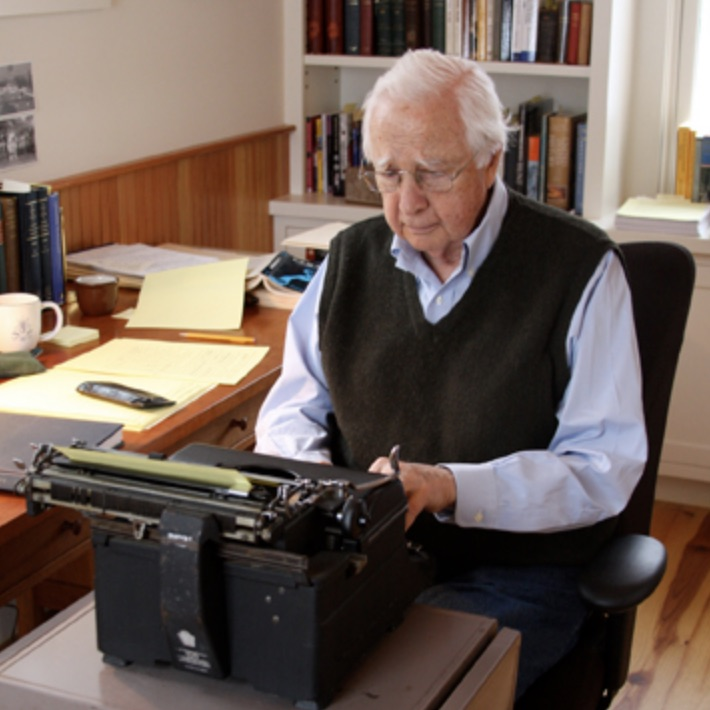 Historian David McCullough, seen here at work on his typewriter, is one of the writers whose work is featured in The Revolutionary Conversation lessons.