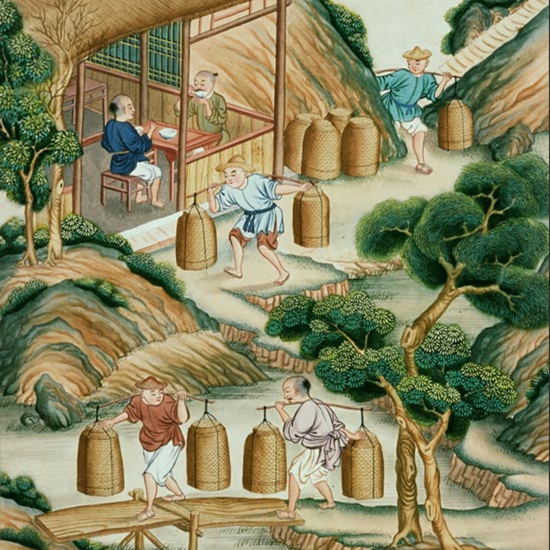 Chinese workers carry tea in this watercolor from a 1790 album on Tea Production.