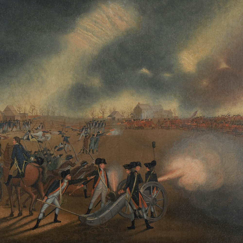 This detail of an artillery battery firing from James Peale's painting of the Battle of Princeton illustrates an image students can use to interpret images of the American Revolution.
