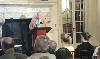 Historian Robert Selig presents a lecture at the American Revolution Institute headquarters.