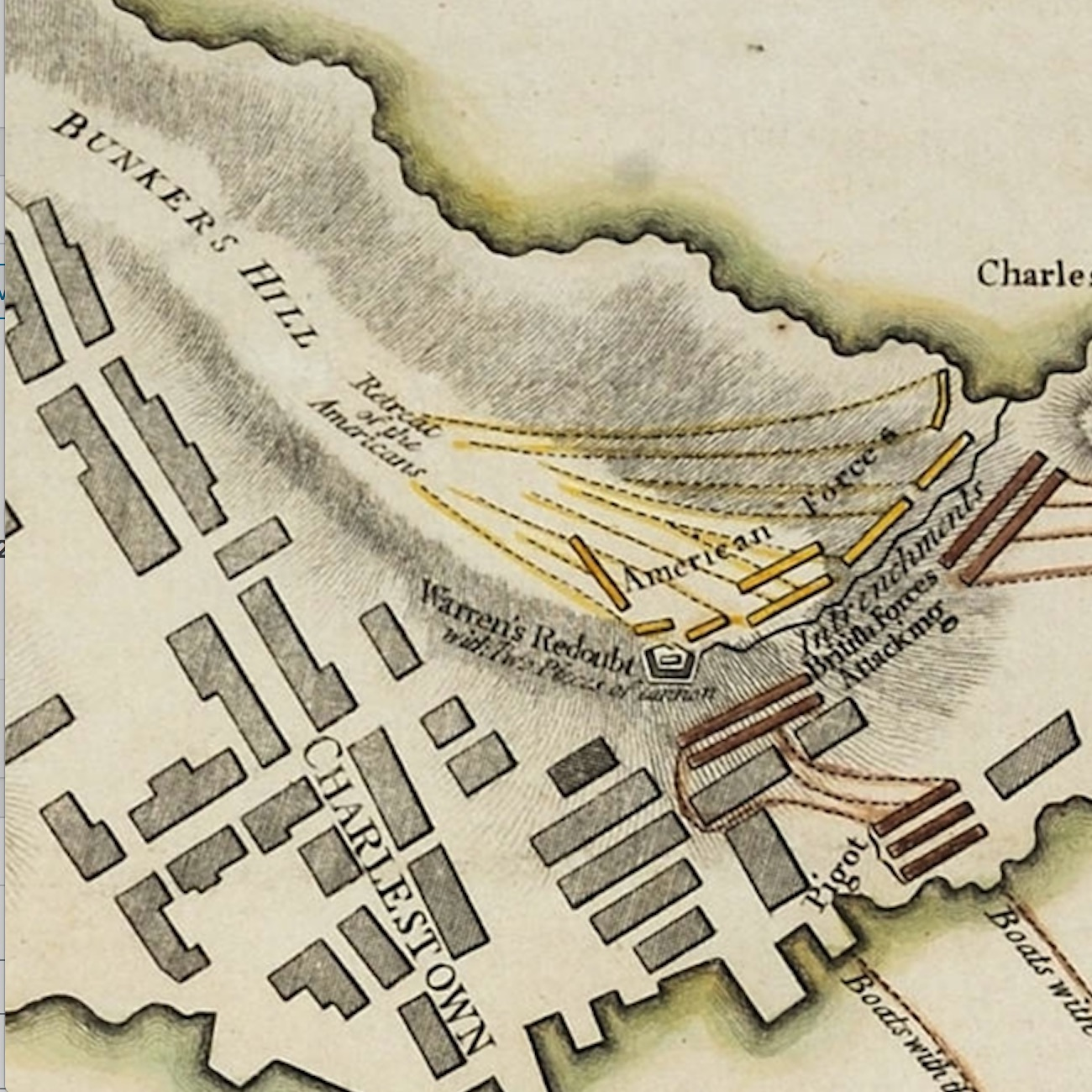 A Plan of the Battle on Bunkers Hill is one of ten great Revolutionary War maps.