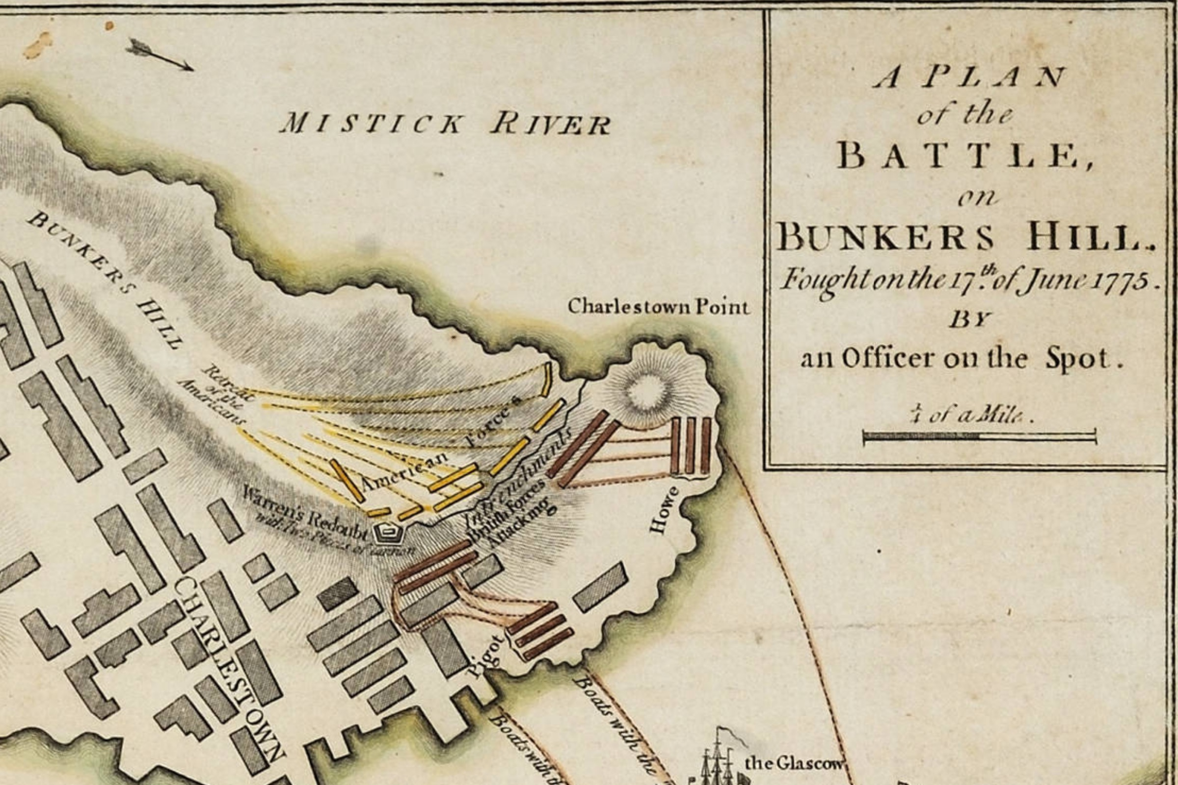 This London map of the Battle of Bunker Hill is one of ten great Revolutionary War maps.