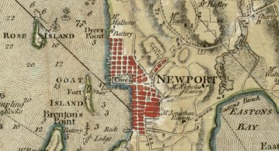 This detail of a map of Narragansett Bay is from one of Ten Great Revolutionary War Maps now online.