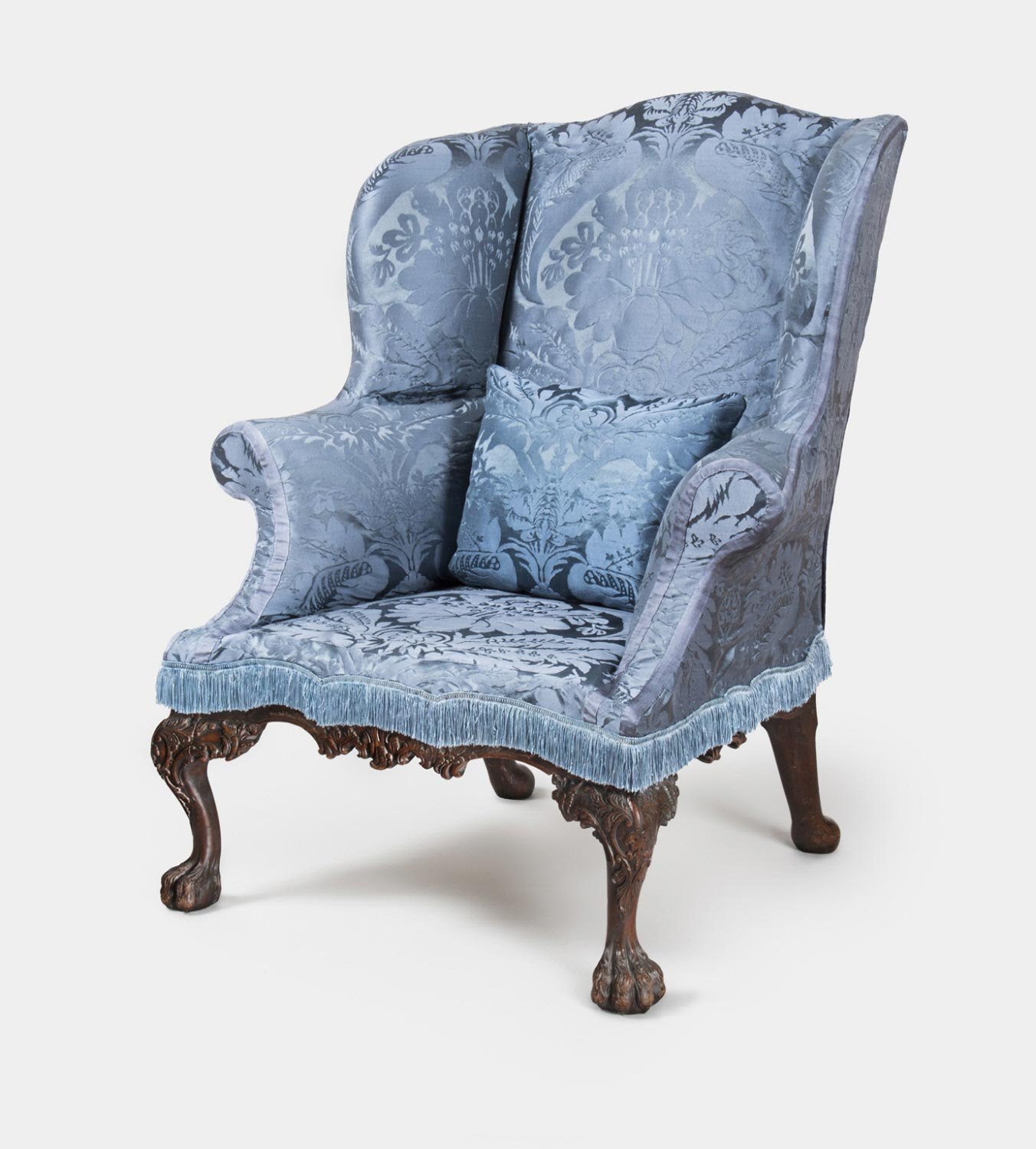 Plunkett Fleeson upholstered this elaborate easy chair a few years before the Revolutionary War.