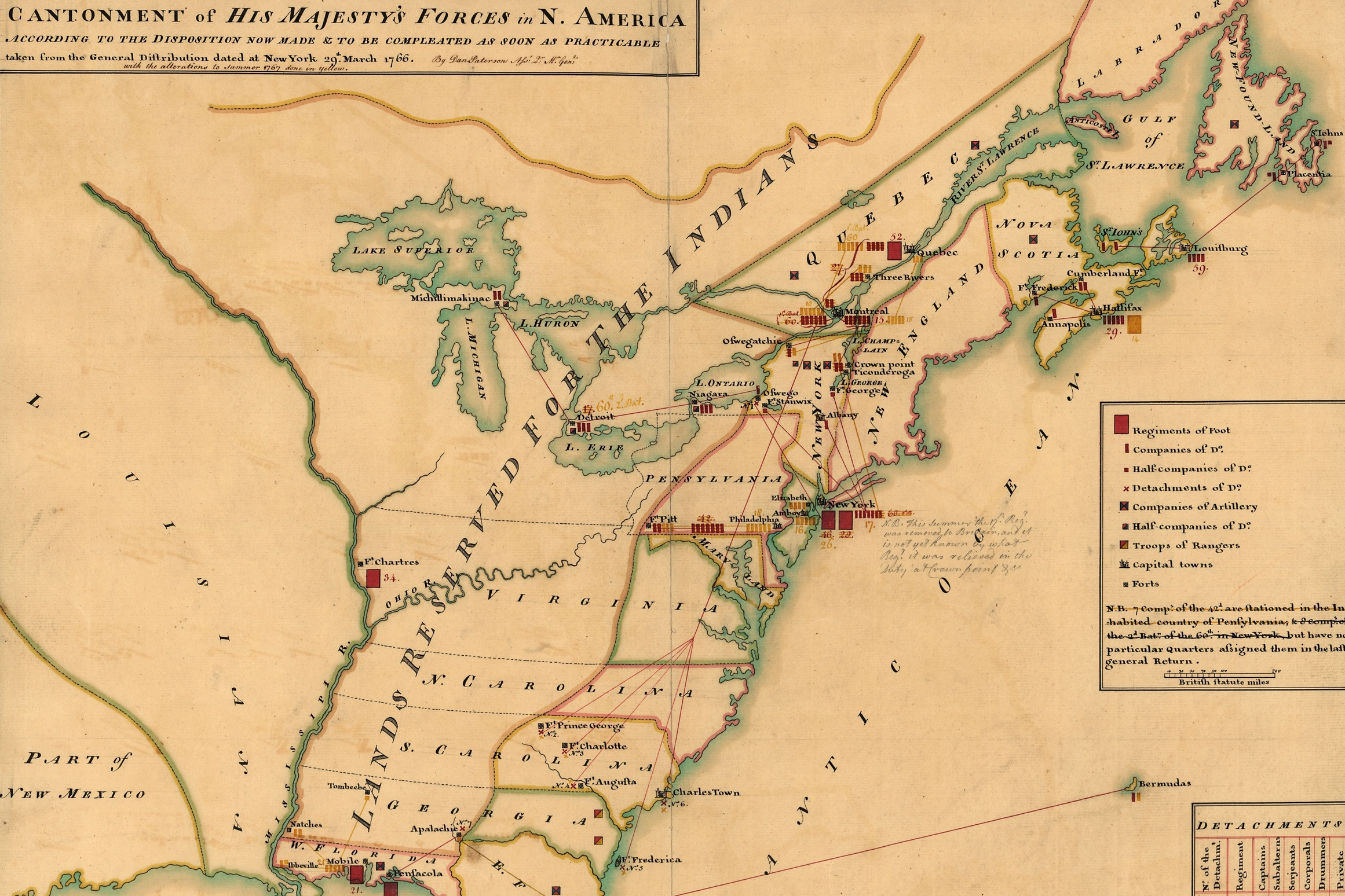 tHis map of the disposition of British forces in 1766 is one of ten great maps of the Revolutionary War.